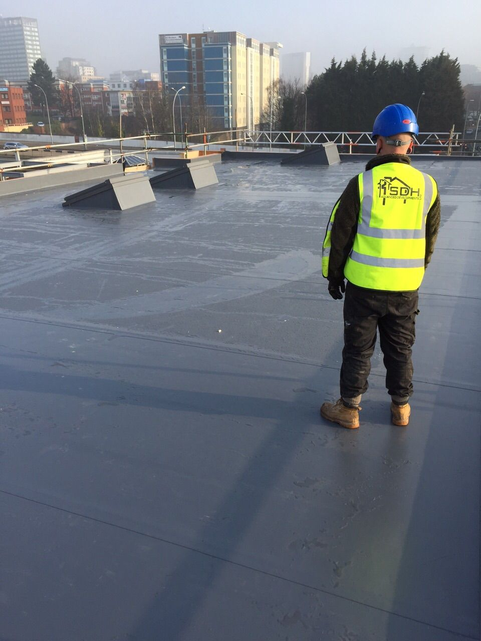Lead Grey Single Ply Roof Covering On Jubilee House Edgbaston With 3no Skylights All Installations Come With A Single Ply Roofing Jubilee House Roof Covering
