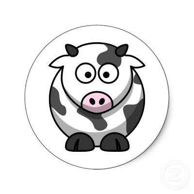 Cammy the cute cartoon cow classic round sticker