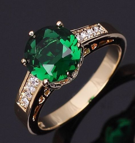 Emerald,18K, Yellow Gold, Solitaire/accents, Ring, Size 8,USA, GiftBox,Valentine #silvestromedia #SolitairewithAccents