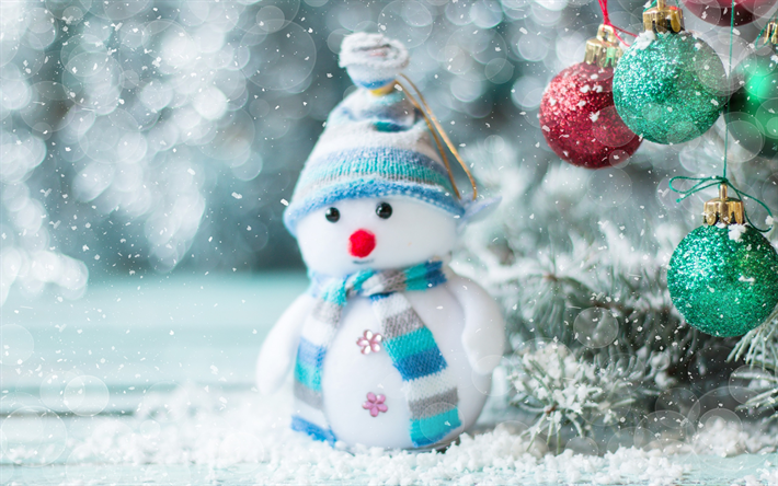 Download wallpapers Snowman, winter, snow, Christmas, New