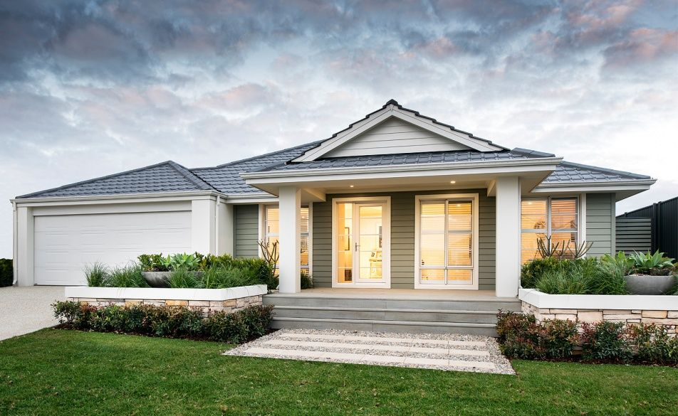 The keaton classic elevation with weatherboard cladding for Weatherboard garage designs
