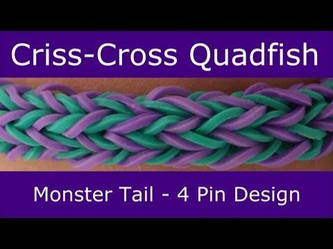 Monster Tail® CRISS-CROSS QUADFISH Bracelet. An official Rainbow Loom design. Looming and tutorial by Suzanne Peterson. Click photo for YouTube tutorial. 06/22/14.