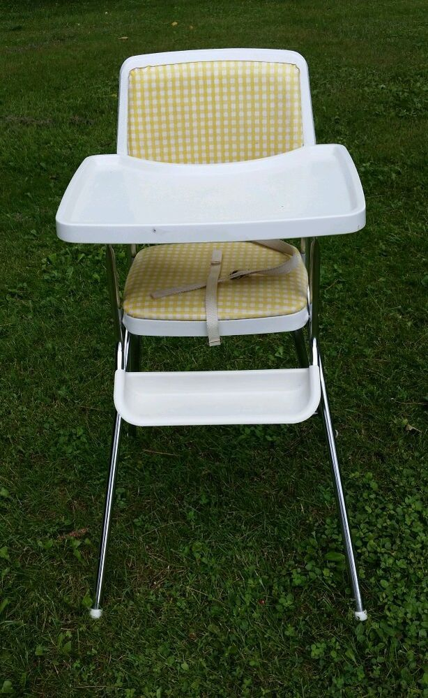 Vintage Cosco Metal High Chair With Chrome Amp Checkered