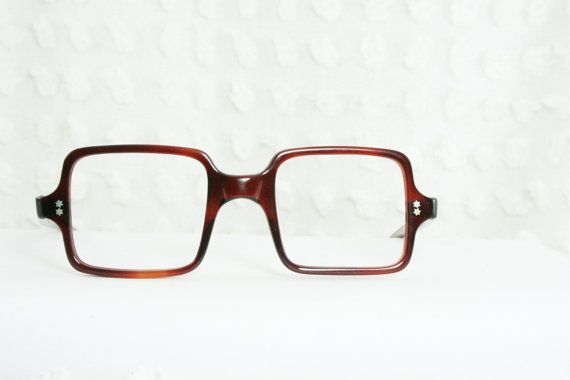 3073716c1c2 Vintage 60s Square Glasses Mod Tortoise 1960 s Geometric Eyeglasses Brown  Horn Rim NOS Unique 46 22 Optical Frame France on Etsy