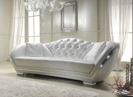 modern white sofa buttons silver contemporary living room ...