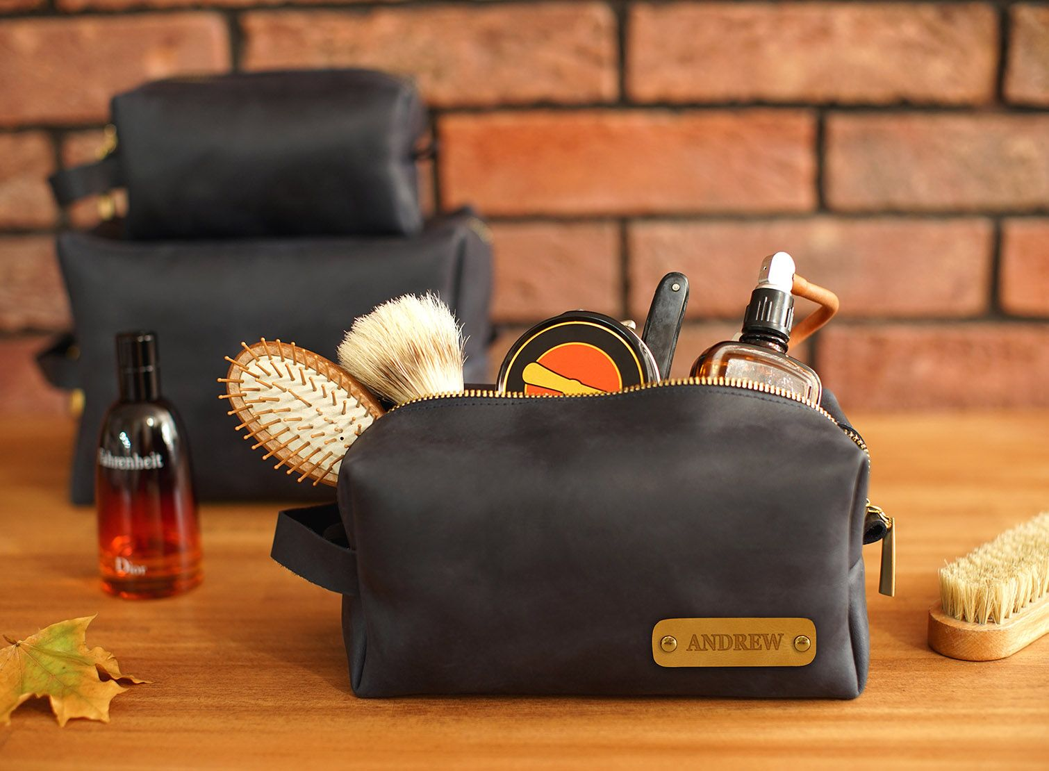 Leather Dopp Kit with Custom Initial Plate, Leather