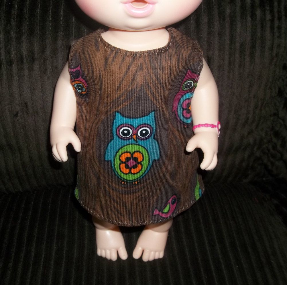 Baby 12 inch Alive doll handmade dress brown with owls on it by sue18inchdollclothes on Etsy