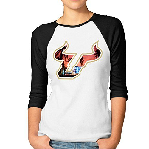 MBMH Womens University South Florida Raglan Baseball T Shirt Black Size S ** You can find out more details at the link of the image.(This is an Amazon affiliate link and I receive a commission for the sales)
