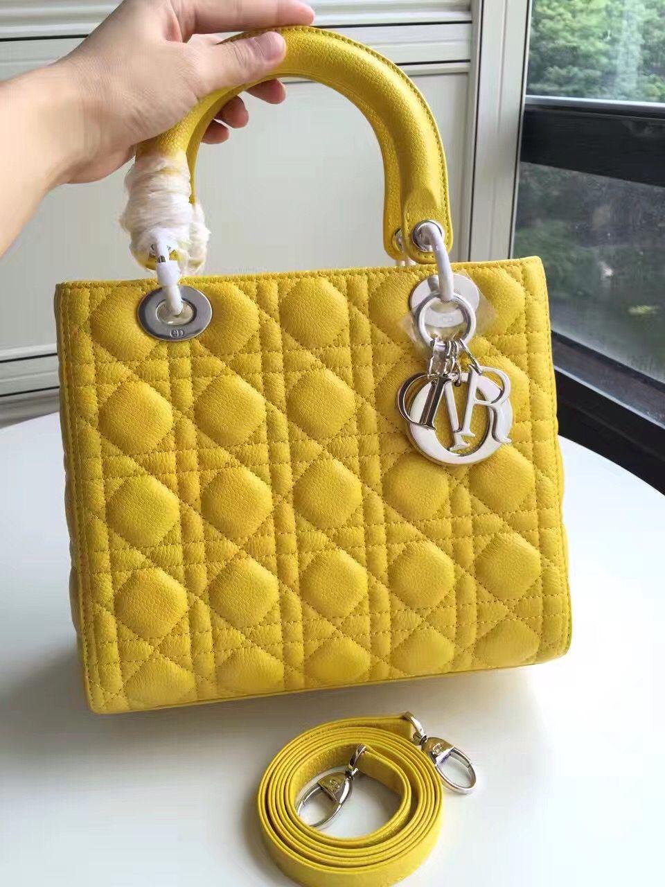 57ff2a7d2 Dior Lady Dior Medium Bag In Caviar Calfskin Yellow (Silver Hardware ...