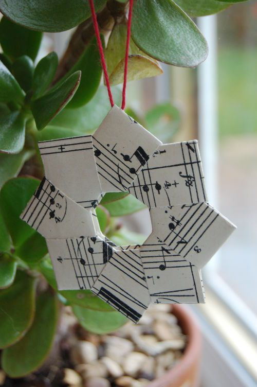 paper ornament with pages from old book or music