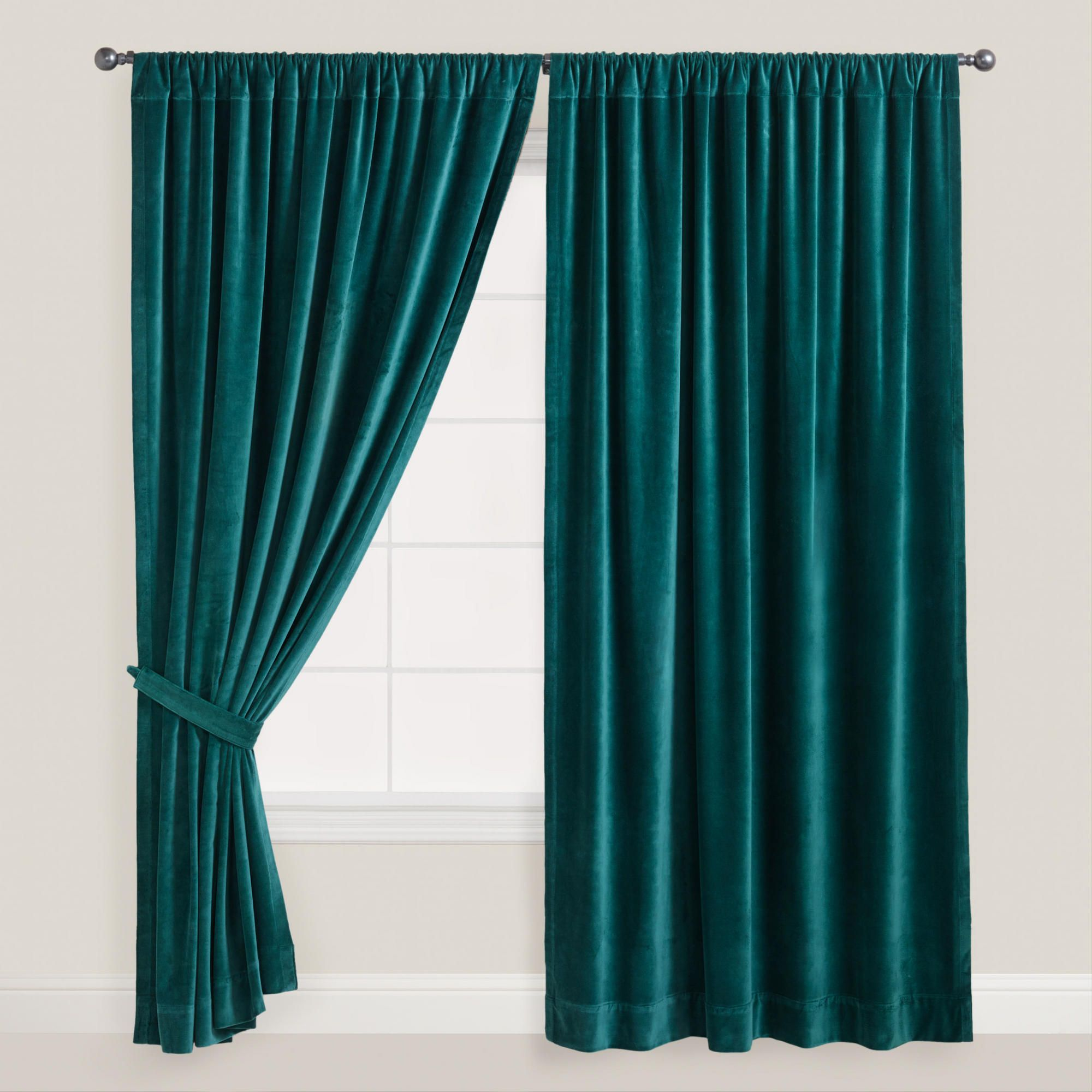 Kelly green velvet curtains - Mallard Velvet Curtain World Market Dark Curtainstab Top Curtainsgreen
