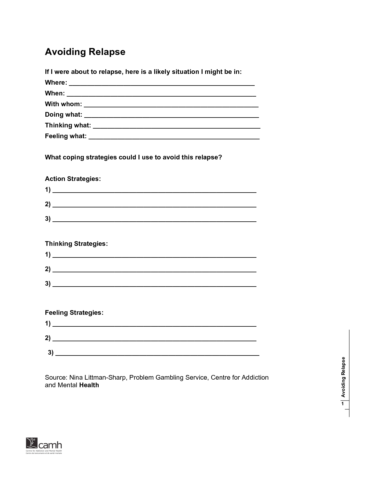 Mental Health Relapse Prevention Plan Worksheet