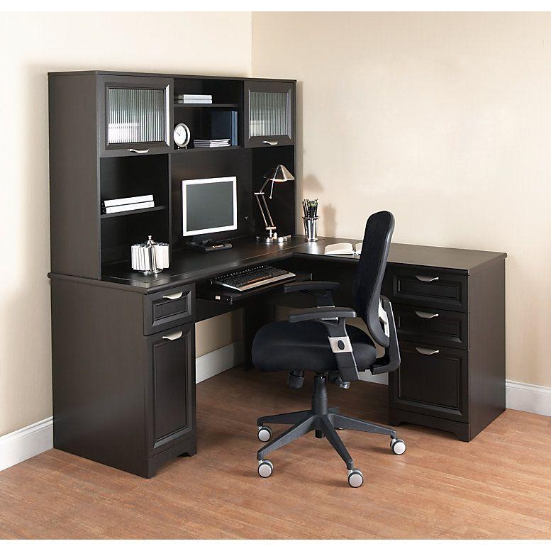 Realspace Magellan 59 W L Shaped Desk Espresso Item 101095 L Shaped Office Desk Corner Computer Desk Desk Furniture
