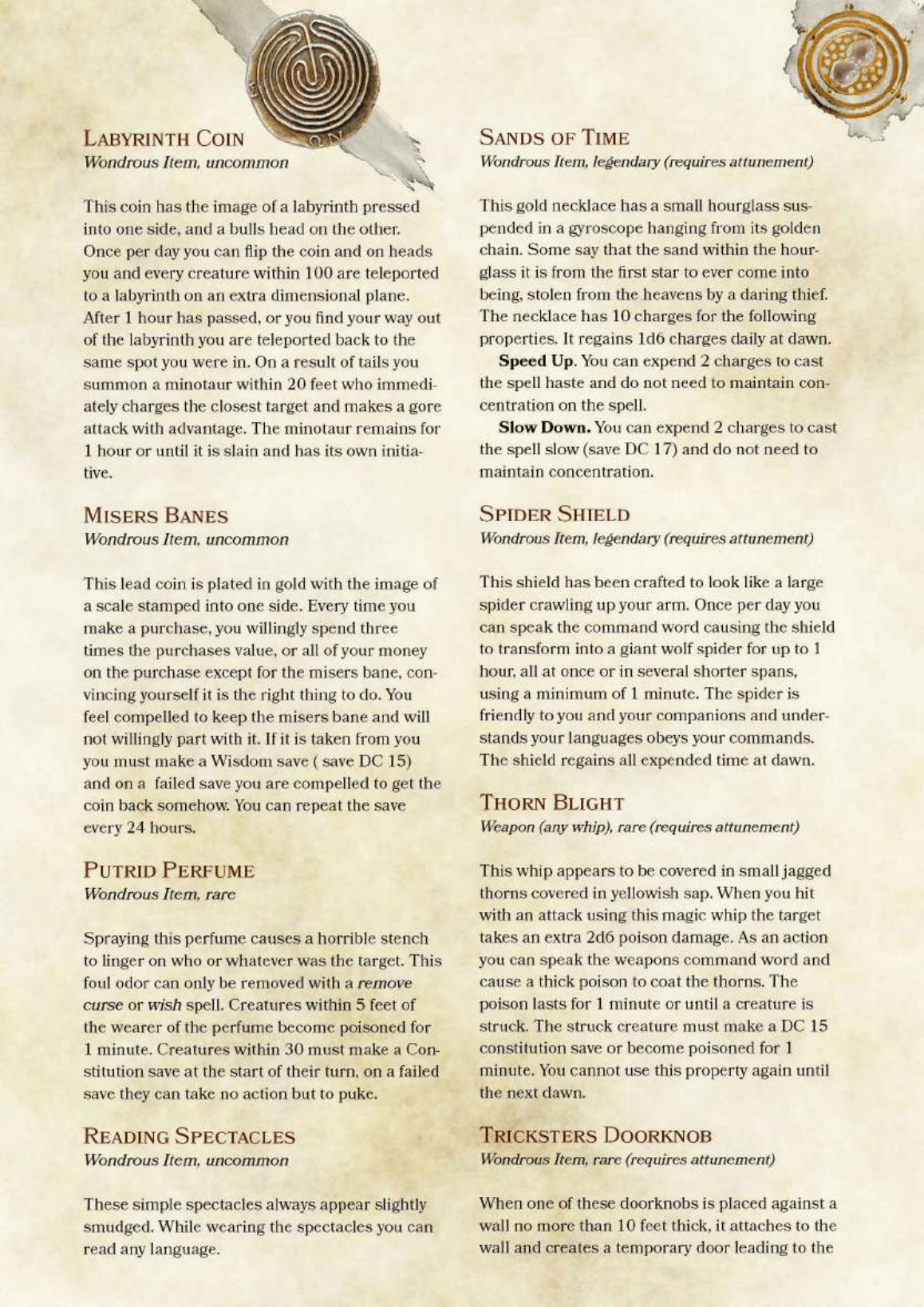 DnD 5e Homebrew — The Forgotten ARchives Items by