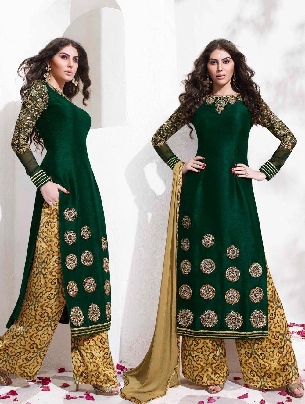 Shirt design with plazo - 2017 Latest Designer Backless Salwar Kameez With Palazzo Pants