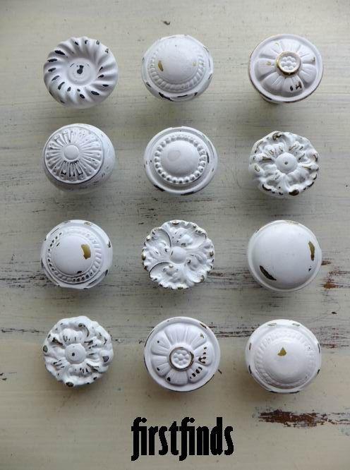 MISFIT 12 shabby chic furniture knobs white vintage drawer hardware ...