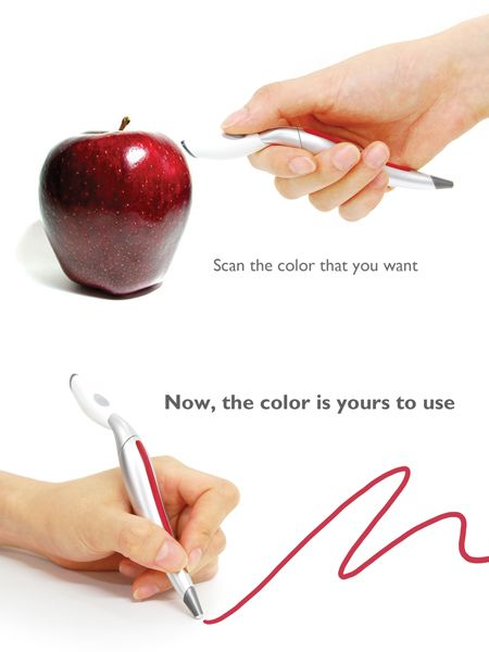 Colour Picker Pen! This pen allows you to scan the color of any real-life object and then draw in that color right away. Do you want to own one? :)