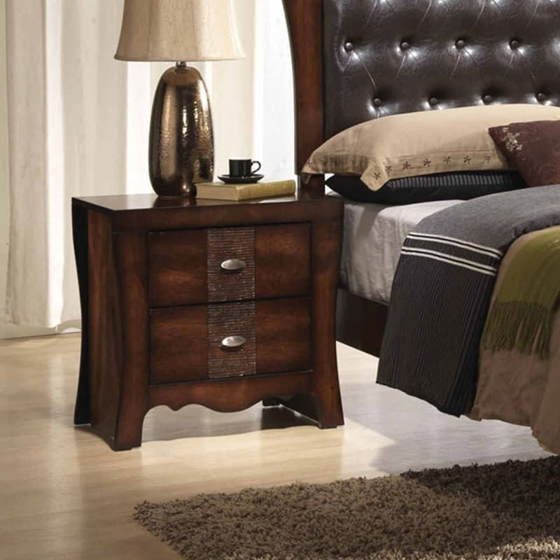 Inch Wide 2 Drawer Wood Nightstand