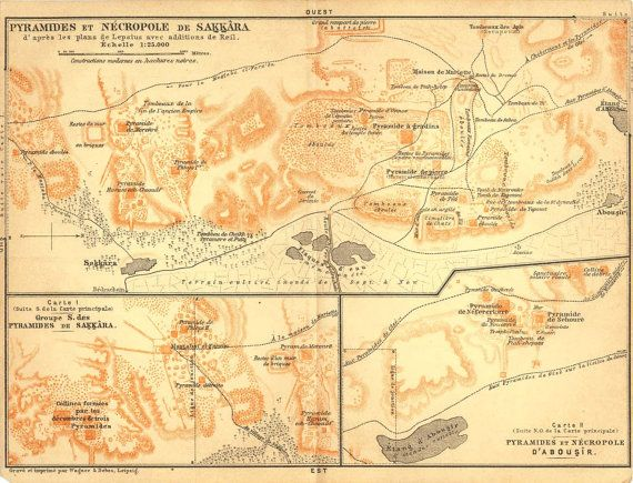 Ancient Egypt Archeological Sites Map Sakkara By CarambasVintage - Map of egypt 1920