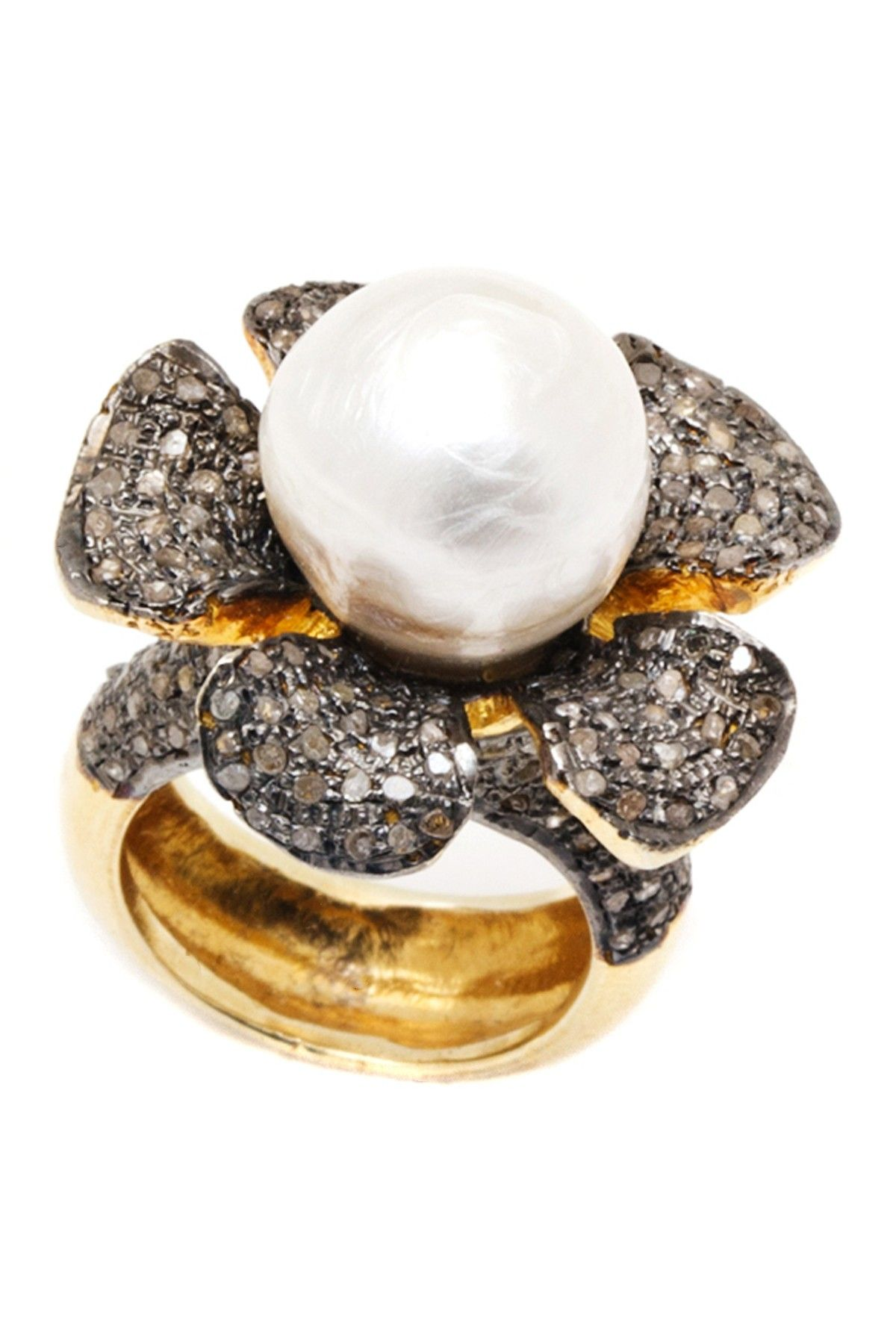 Champagne Diamond Flower Pearl Ring
