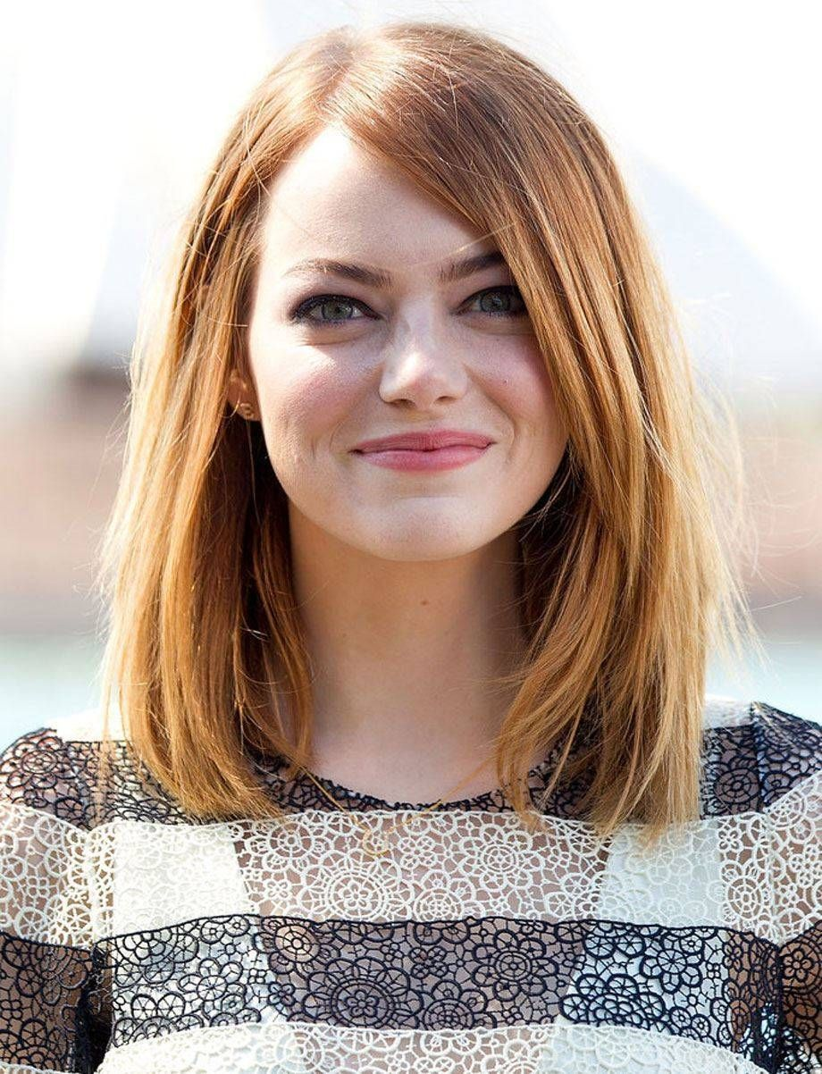 great long haircuts for round faces tricks : 2014 emma stone