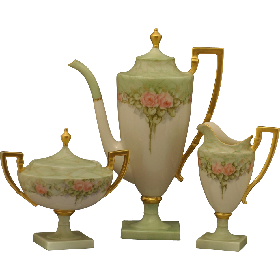 American Lenox Belleck 5 Piece Hand Painted Art Nouveau Coffee/ Tea ...