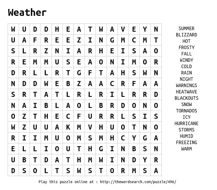 Weather Word Search Weather Words Weather Word Search Word Find