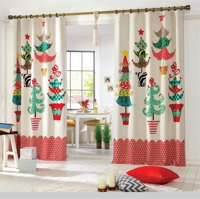 cortinas-con-motivos-navidenos Decoración NAvidad Pinterest