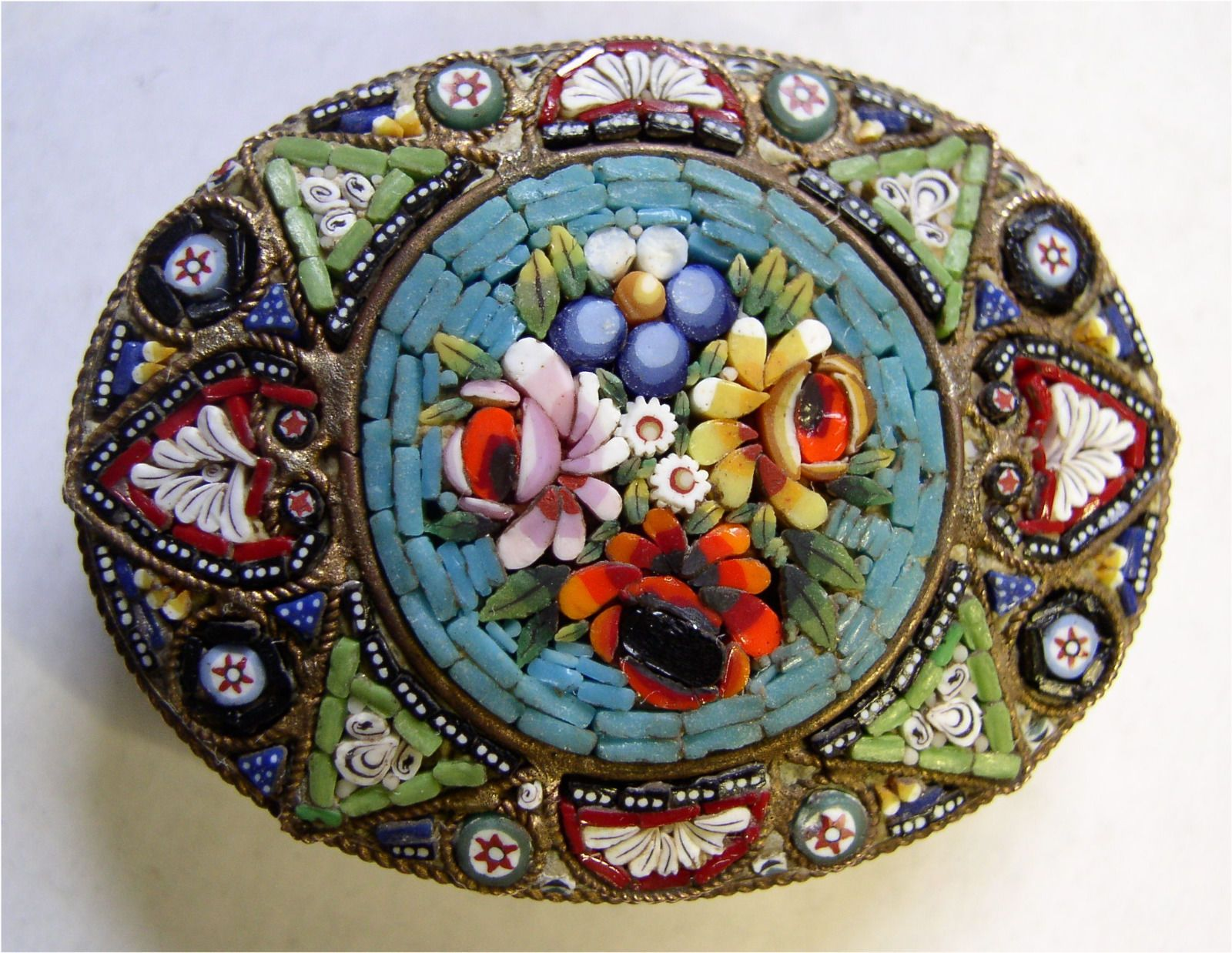 """Antique Italian Micromosaic Floral Brooch Pin """"Circus"""" of Color Design   eBay"""