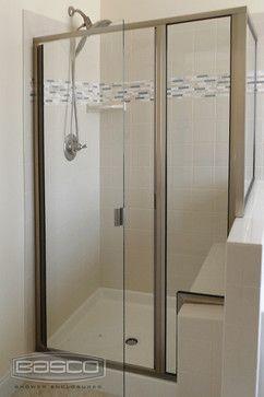 Classic Frameless Continuous Hinge Door Panel Return Panel Featuring Brushed Nickel Corian Shower Walls Frameless Glass Shower Enclosure Custom Shower Doors