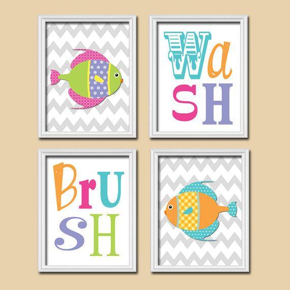 FISH Bathroom Nautical Wall Art, CANVAS or Prints Girl Bathroom