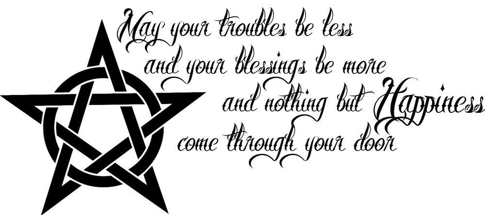PENTACLE WALL ART QUOTE STICKER.WICCA WICCAN PENTAGRAM SPELL ...