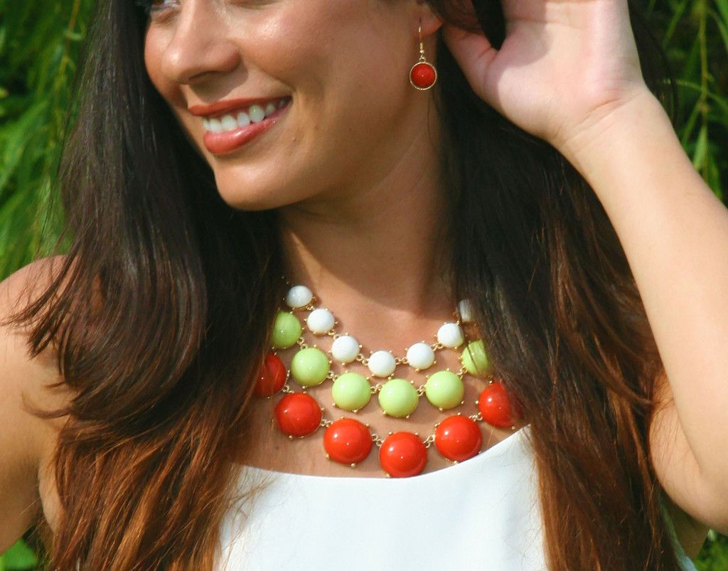 Chartreuse and Orange Bubble Necklace