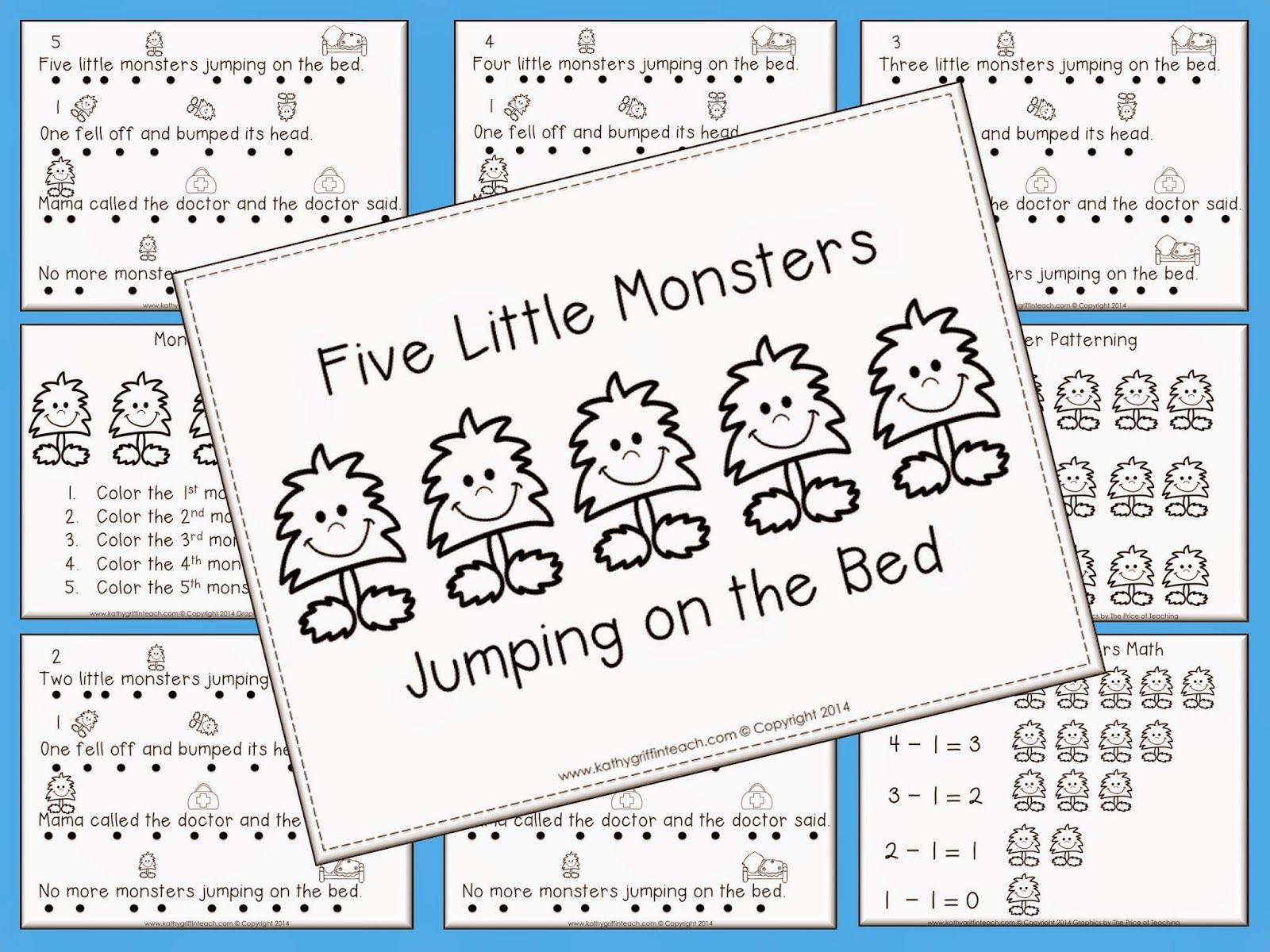 Five Little Monsters Jumping On The Bed Free Fluency Book And Math Printables