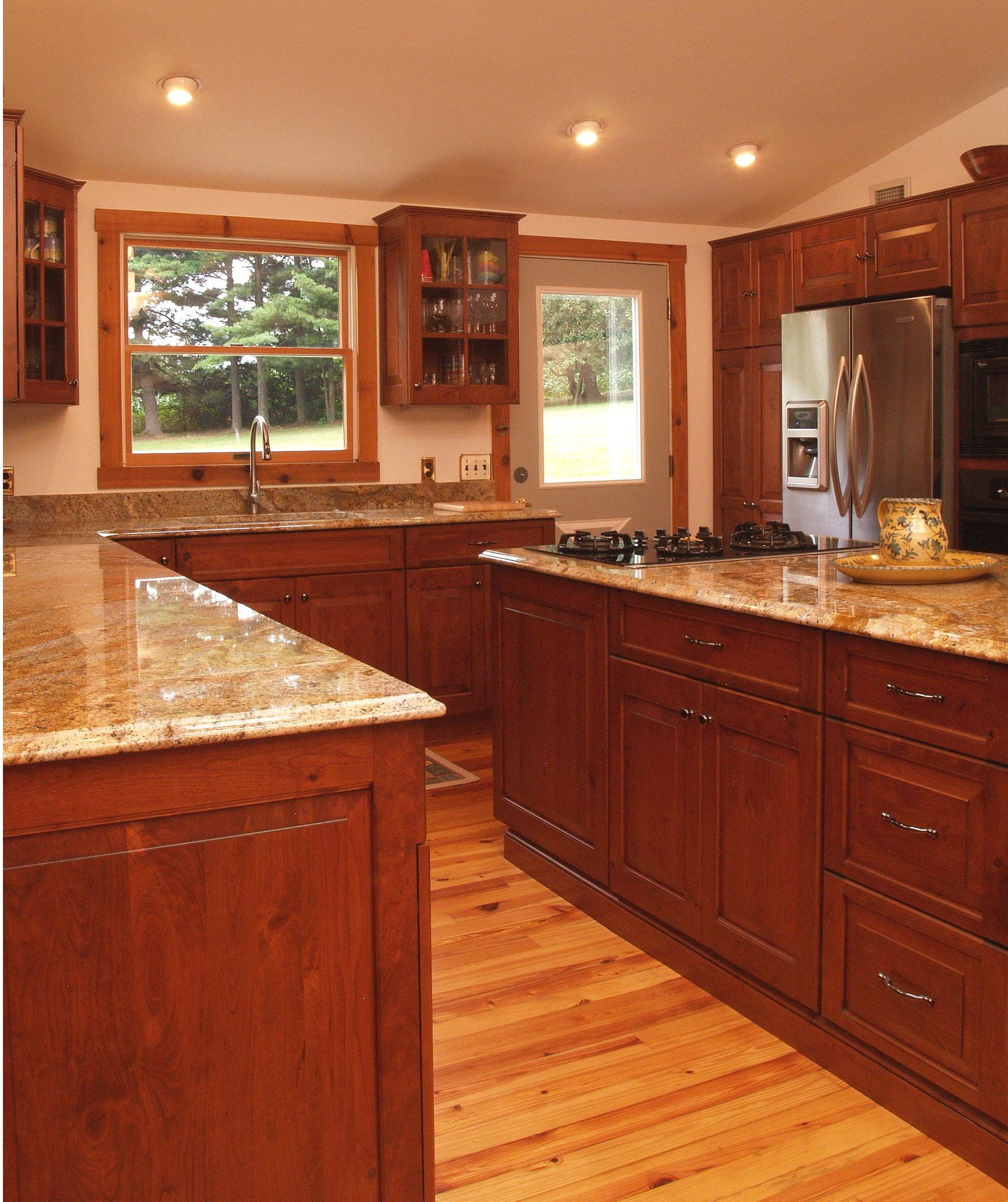 Log Cabin Style With Modern Comforts Yes Please Cabinets And Island Are Cherry Wood And The Coun Cherry Wood Kitchens Custom Kitchen Cabinets Rustic Kitchen