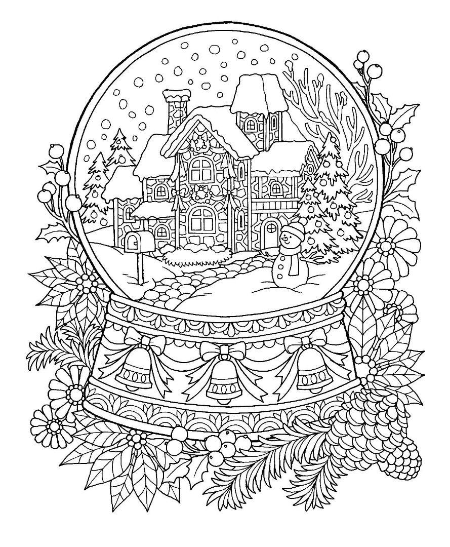 Christmas Snow Globe Coloring Page  Christmas coloring sheets