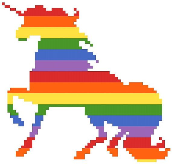Cross Stitch Pattern Rainbow Unicorn by RagingStitches on Etsy, $5.00