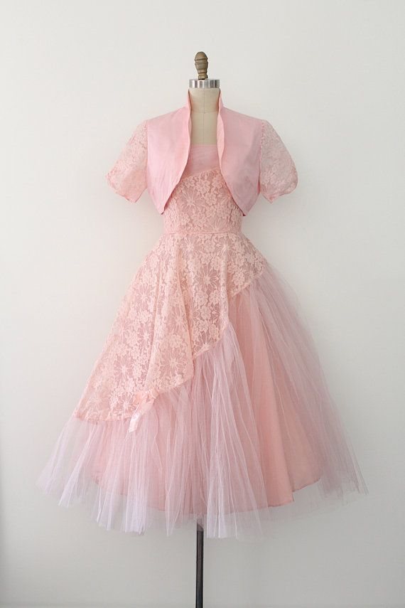 Vintage 1950s dress // 50s pink lace evening prom dress with jacket ...