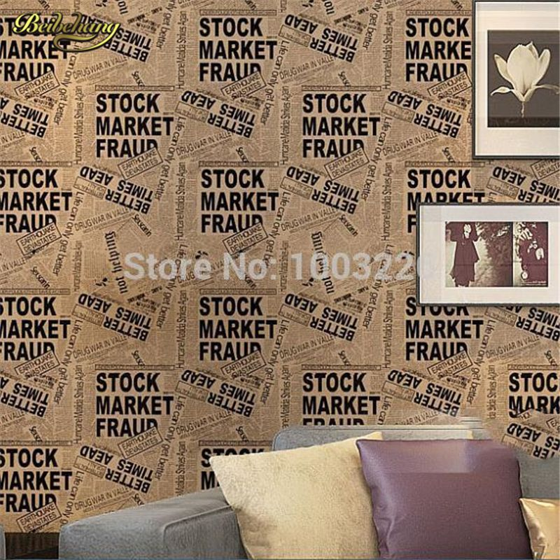 Beibehang High Quality White Black Newspaper Wallpaper Roll Designer Fine Classic English Letter Wall Paper Papel