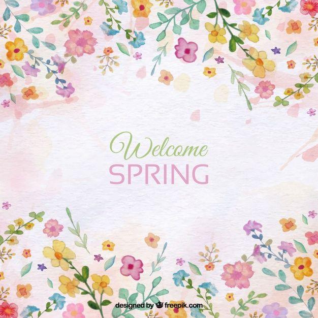 Descarga Gratis Fondo De Primavera Con Detalles Florales De Acuarela 無料のベクター素材 アルバム アイデア フローラル