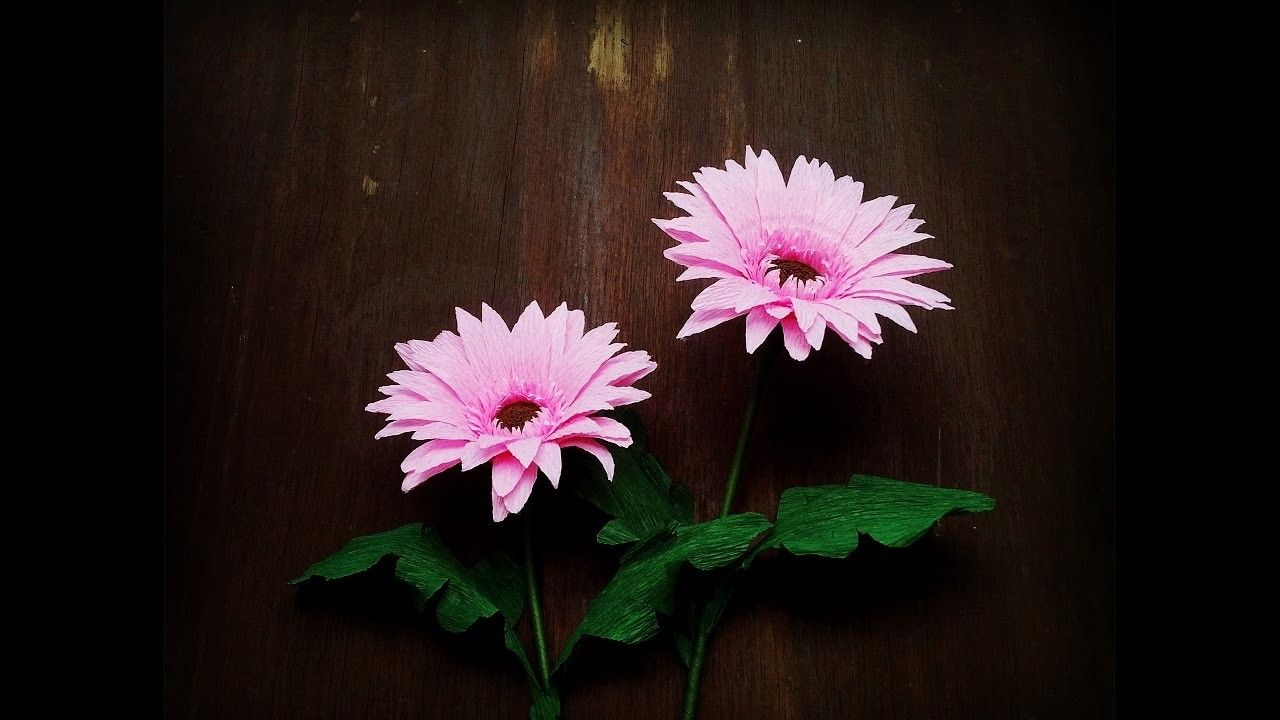 How To Make Gerbera Flower From Crepe Paper Craft Tutorial