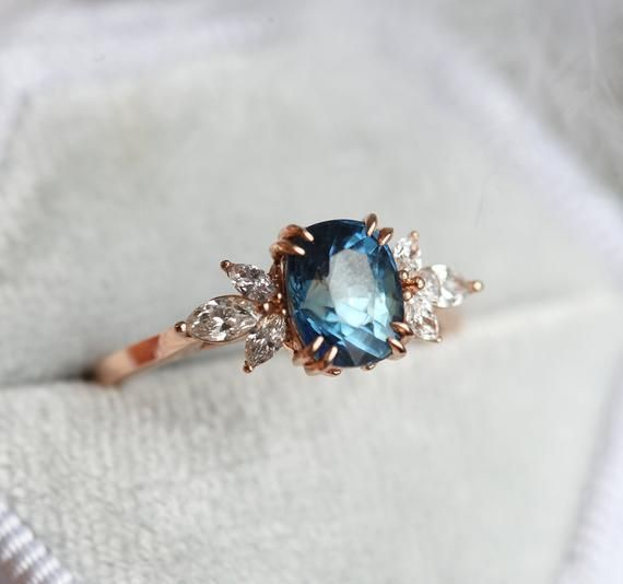 Photo of Blue sapphire engagement ring rose gold, blue cushion sapphire and diamond ring, single …