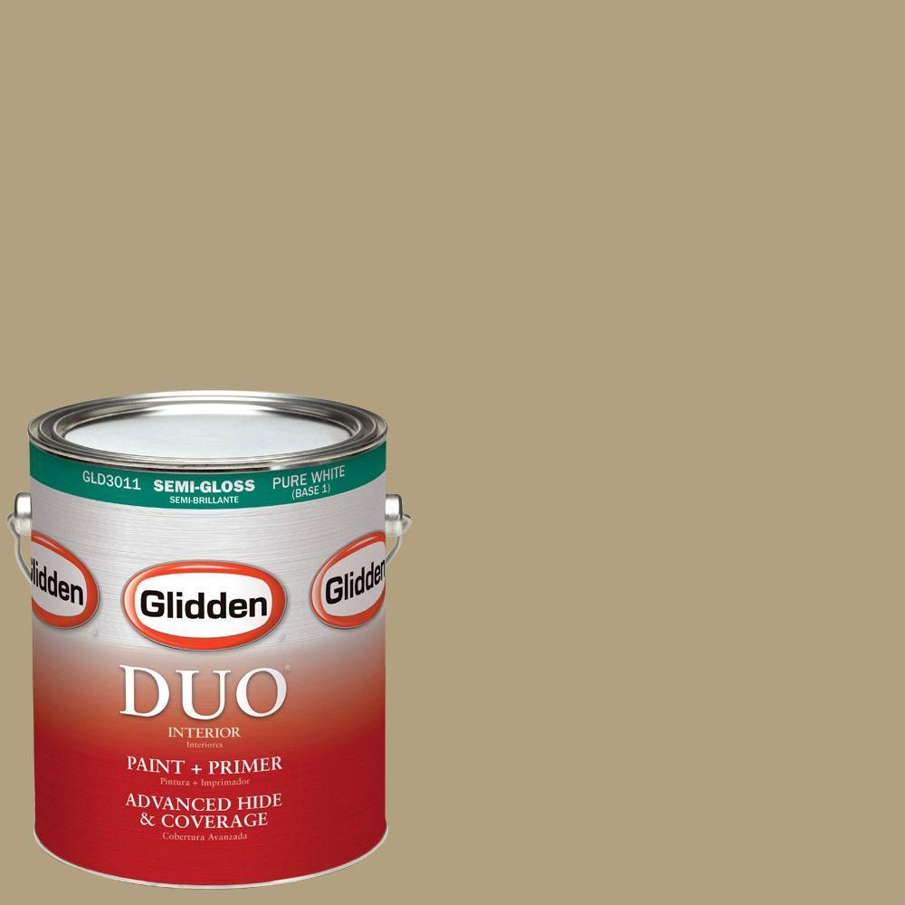 Glidden DUO 1-gal. #HDGY52 Tarnished Gold Heirloom Semi-Gloss Latex Interior Paint with Primer
