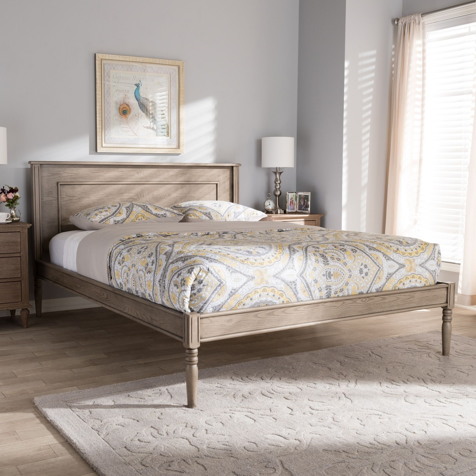 Contemporary Weathered Grey Finished Wood Bed Baxton Studio King
