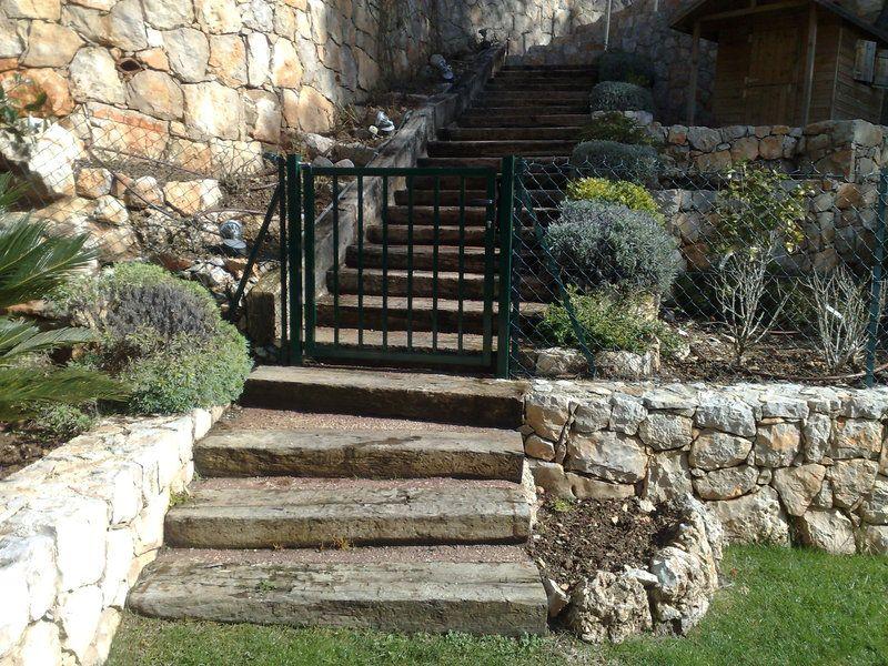 Poutre sncf l 39 art des escaliers de jardins pinterest - Escalier jardin ...