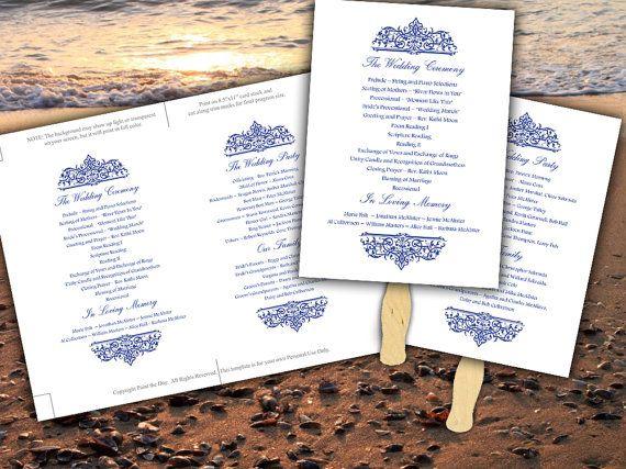 Printable Nautical Wedding Program Fan Template Microsoft Word Navy Blue Cella Beach