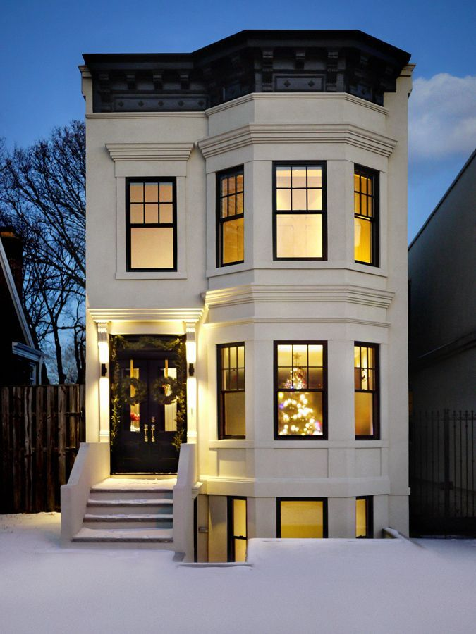 Brooklyn townhouse christmas brownstone exterior modern house design also ways to bring charm your home   with images rh pinterest