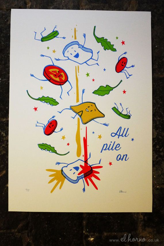 All Pile On  (Sandwich Exploded View) screen print | Illustration