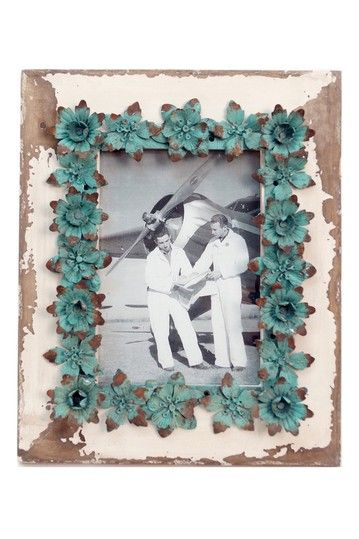 Wood Picture Frame With Metal Flower Accents Teal 5 X 7 By