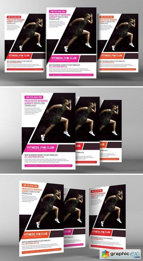 Fitness Gym Flyer Template 单页 Pinterest Flyer template - Gym Brochure Templates